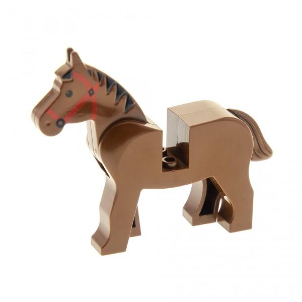 1 x Lego System Tier Pferd braun Zaumzeug rot Mähne schwarz für z.B. Zoo Zirkus Bauernhof Western Wild West Indianer Ritter Cowboy 4493c01pb01