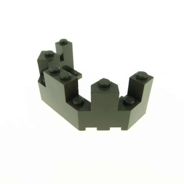 1x Lego Mauerteil alt-dunkel grau 4x8x2 1/3 Wand Zinne Burg Castle 6066