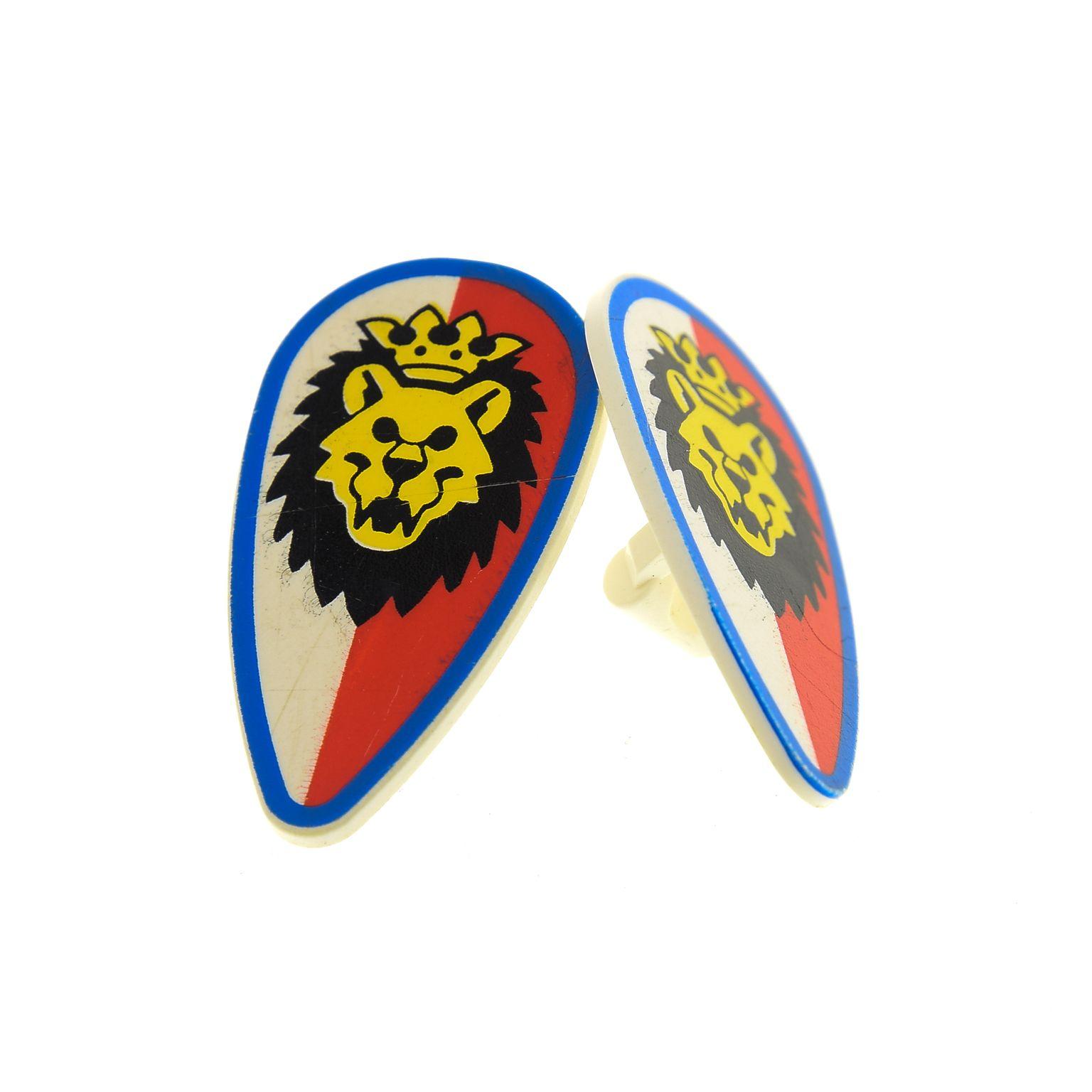 1x Lego Figuren Schild weiß oval Wappen Löwen Kopf Krone rot blau 9376 2586p4d