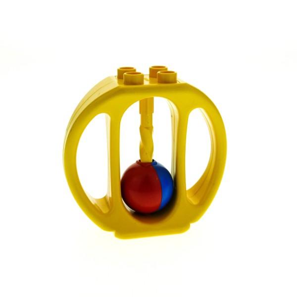 1 x Lego Duplo Primo Baby Rassel gelb Klapper Ball rot blau Baustein ( Steg gedreht ) bab007