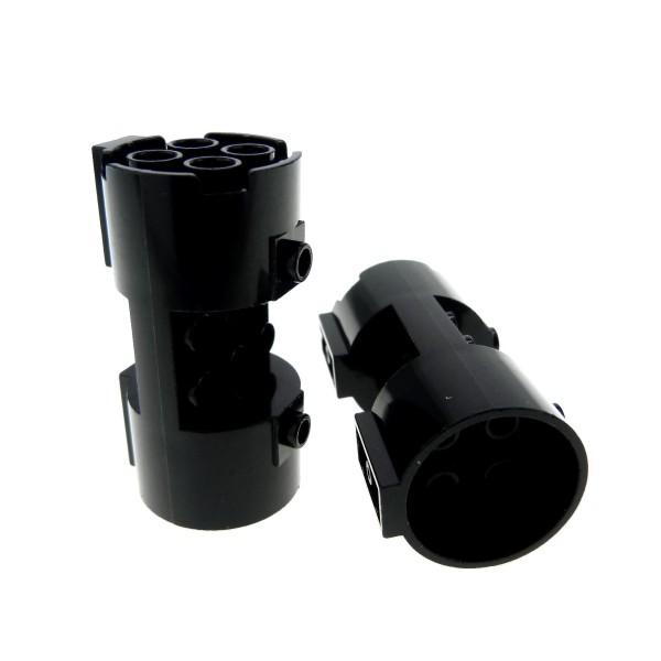 2 x Lego System Zylinder schwarz 3x6x2 2/3 Noppen leer Turbine Triebwerk Düse Star Wars Space Police Set 5984 5972 5982 7184 4141255 30360
