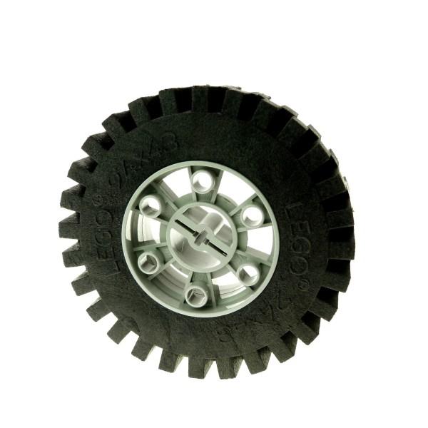 1 x Lego Technic Rad schwarz 24x43 Racing voll Gummi Felge alt-hell grau 24x43 Technik Auto Fahrzeug Set 8859 8860 8857 3739 3740 3739c01