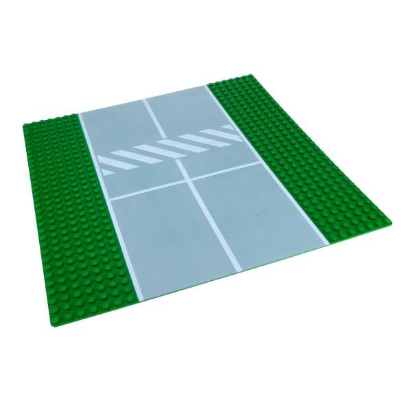 1 x Lego System Bau Platte Straße 7N gerade grün grau 32x32 mit Fußgängerübergang 32 x 32 für Set Weltraumbahnhof 6339 2358p02