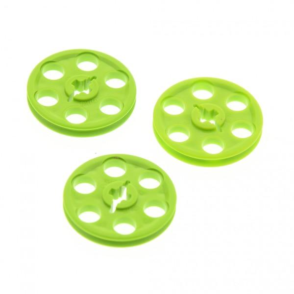 3 x Lego Technic Riemenscheibe lime hell grün Rad Umlenkrolle Technik 4185
