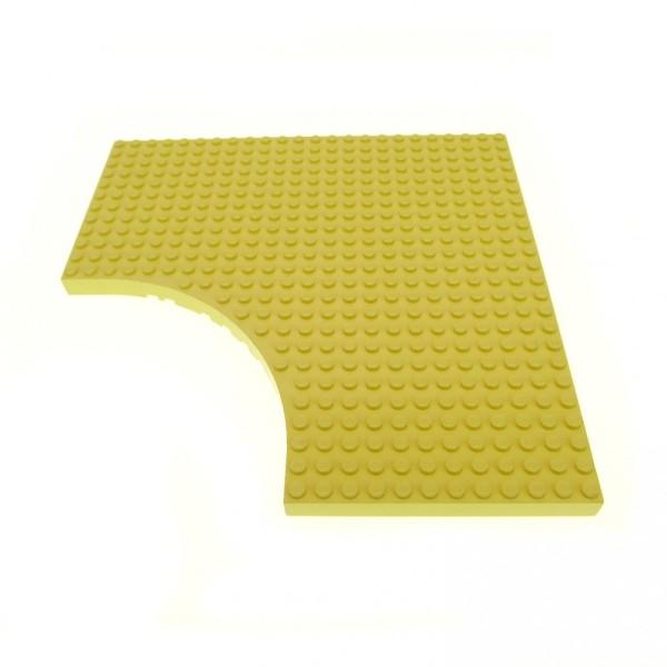 1 x Lego System Bau Platte 24x24 hell gelb 24 x 24 Noppen Belville mit Rundung 12 x 12 12x12 Viertelkreis Ecke Ausschnitt Set 5895 5890 5880 5847 6161