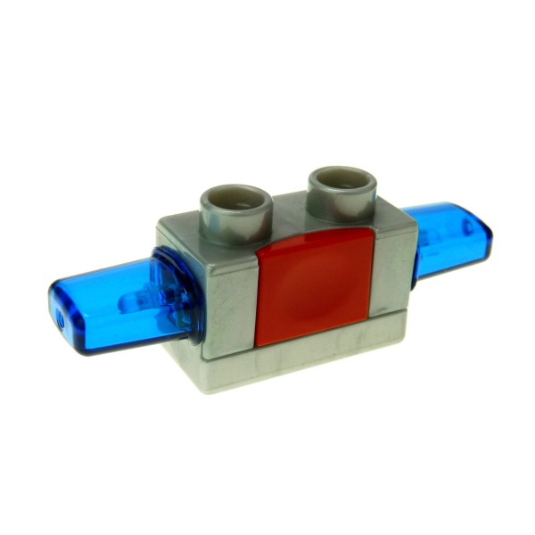 1 x Lego Duplo Funktion Stein Sirene Blau Licht perl hell grau blau rot Blink Licht Warn Leuchte Sound Light Effekt Modul für Auto LKW geprüft 52189c02