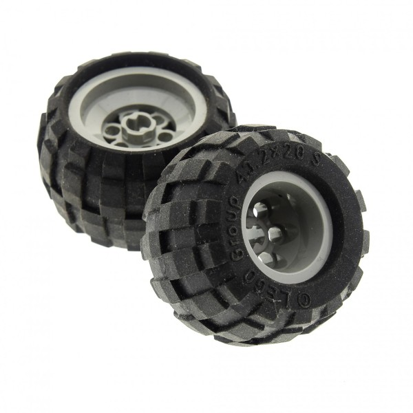 2 x Lego Technic Rad schwarz 43.2x28 S Räder Felge alt-hell grau Ballon klein Reifen Auto LKW Technik (6580 / 6579) 6580c01