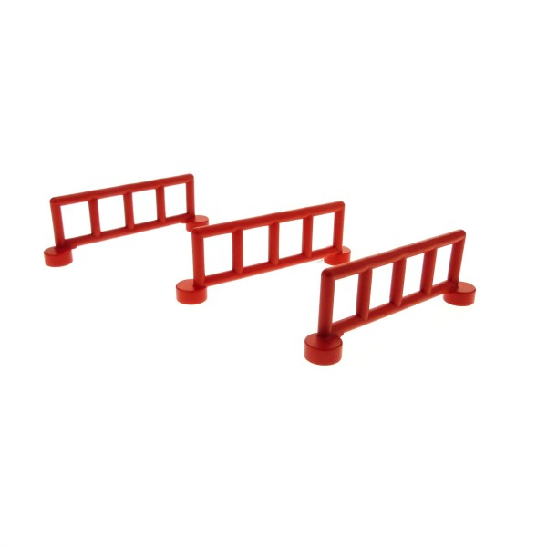 3 x Lego Duplo Zaun rot mit 5 Pfosten Zäune Gatter Gitter Geländer Absperrung Fence für Bauernhof Baustelle Zoo 2214