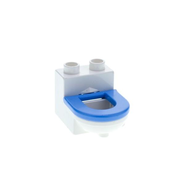 1 x Lego Duplo Möbel Toilette weiss medium hell blau WC mit Deckel Sitz Badezimmer Bad Puppenhaus 4911c02