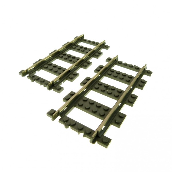 2 x Lego System Schiene 9 V alt-dunkel grau gerade Eisenbahn Zug Lok Metall Gleis 2865