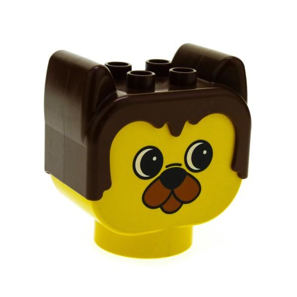 1 x Lego Duplo Primo Tier Kopf gelb braun Bär Motiv Stein Figur Baby Baustein dupbarnaby2