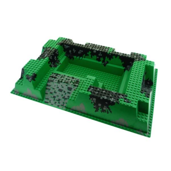 1 x Lego System 3D Bau Platte B-Ware abgenutzt grün grau schwarz 32x48x6 Felsen 32 x 48 Ritterburg Königstolz 6090 6261px1