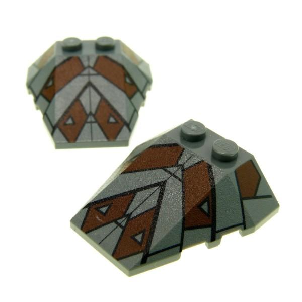 2 x Lego System Schräg Dach Stein neu-dunkel grau braun 4 x 4 mit Muster Star Wars 7957 48933pb009