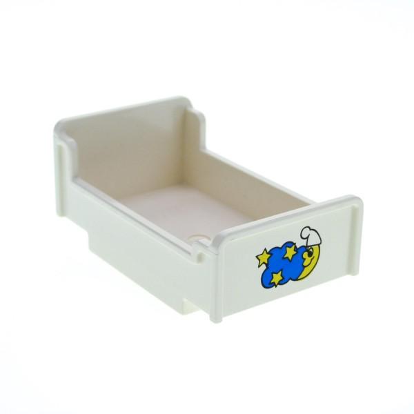 1 x Lego Duplo Möbel Bett weiss 3 x 5 x 1 2/3 mit Mond Sterne Aufkleber Schlafzimmer Puppenhaus 4895pb01