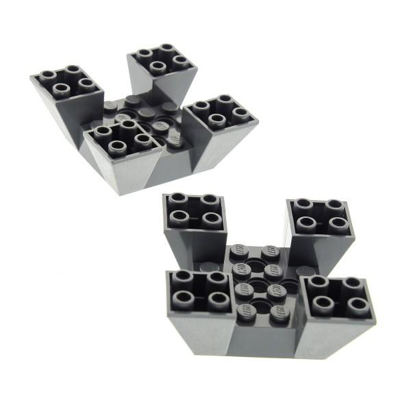 2 x Lego System Mauerteil neu-dunkel grau 6x6x2 Mauer Teil Zinnen Turm Burg Castle 4479 7146 7150 7152 4210640 30373