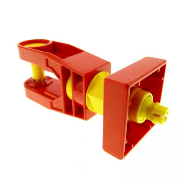 1 x Lego Duplo Toolo Stein rot gelb Dreh Arm Halterung Verbinder Kupplung mit Schraube am Ende 6662c01