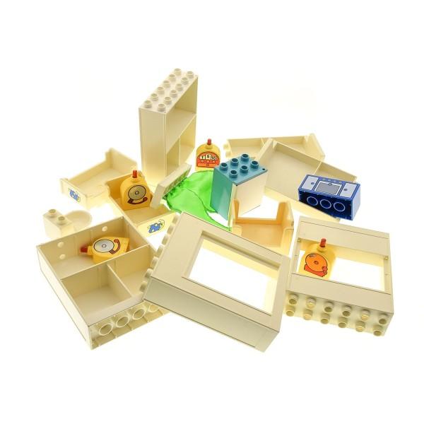17 x Lego Duplo Möbel B-Ware Set abgenutzt Schrank Bett creme weiss Regal Kühlschrank hell blau Klingel gelb WC Ofen Vorhang