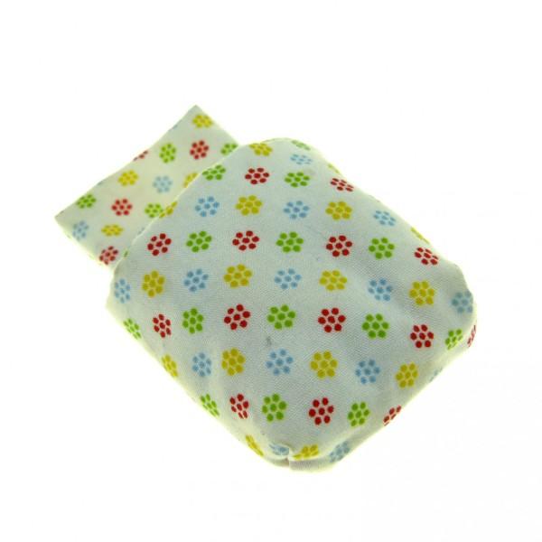 1 x Lego Duplo Schlafsack Stoff weiss mit Blumen gelb rot blau grün Bettbezug Schlafzimmer Baby Decke Kissen Puppenhaus sleepbag*