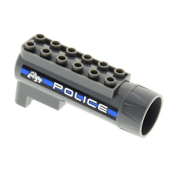 1 x Lego System Luftdruck Zylinder neu-dunkel grau mit Sticker POLICE blau Polizei Air Blast Receiver Power Racers Set 8221 87944pb05