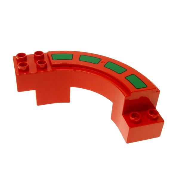 1 x Lego Duplo Rennbahn rot mit Fahrbahn Markierung gebogen Kurve Autobahn Rennstrecke Hochbahn Set 2280 2284 2281 9067 31205pb01