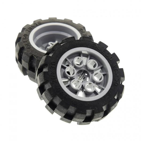 2 x Lego Technic Rad schwarz 20x30 Ballon Reifen Medium Räder Felge neu-hell grau Technik Auto Fahrzeug Set 7296 7475 (6582 / 6581) 6582c01