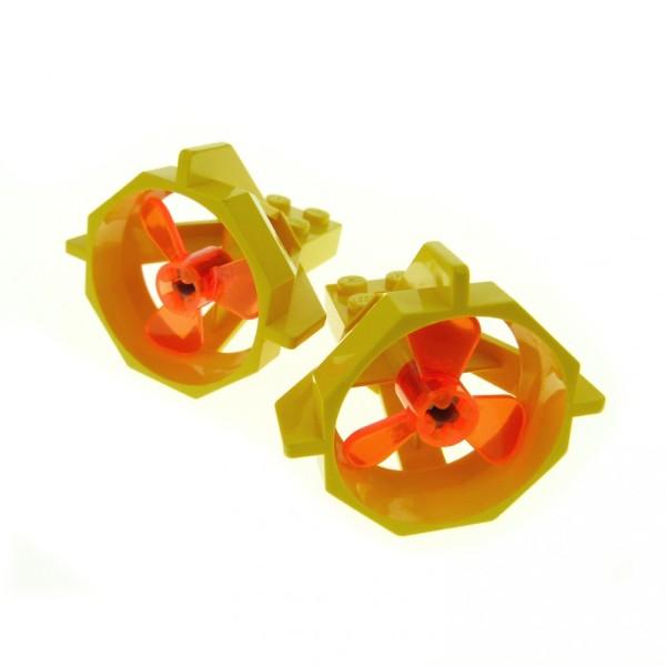 2 x Lego System Propeller Gehäuse gelb U-Boot Antriebe Düse Schraube neon orange 6040 6041