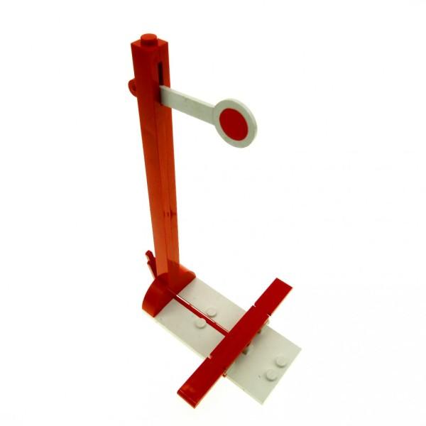 1 x Lego System Zug Signal rot weiss Eisenbahn 4.5V mit Schutzschalter Red Train Signal Post trainsig2 x489