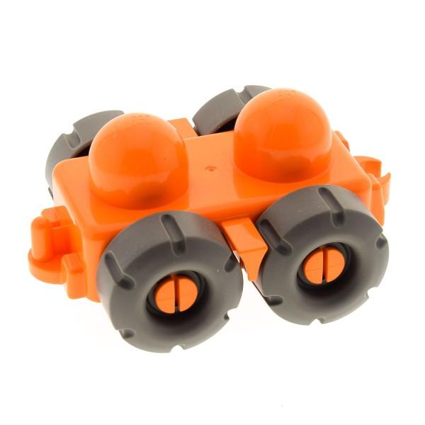 1 x Lego Duplo Primo Auto Fahrzeug Wagen Anhänger orange Räder alt-dunkel grau mit Profil Baustein Baby für Set 3696 9031 45205