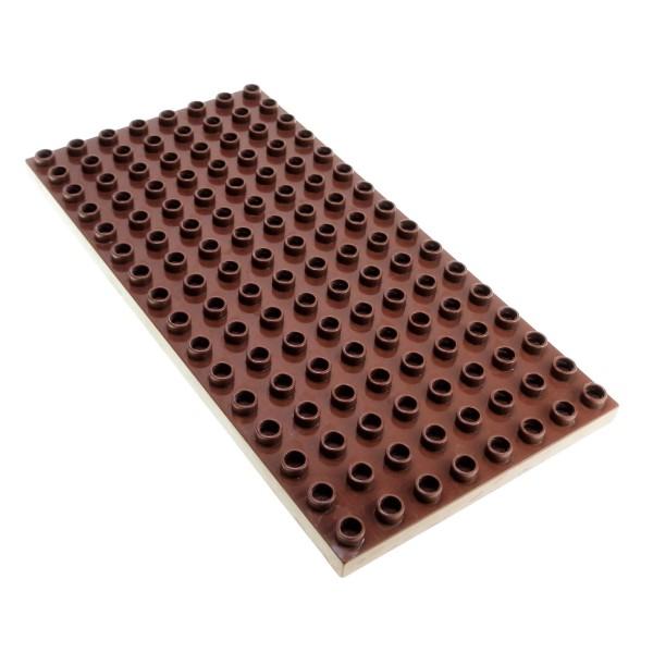 1x Lego Duplo Bau Basic Platte 8x16 rot braun Burg Castle 4251259 6490 61310