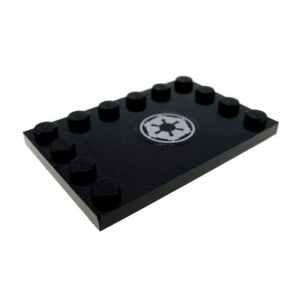 1 X Lego Brick Black Tile Modified 4 X 6 With Studs On Edges With Sw Imperial Logo Pattern Sticker Set 7672 6180pb019