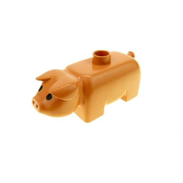 1 x Lego Duplo Tier Schwein flesh rosa orange Sau Eber Bauernhof Zoo Zirkus Augen schwarz 4011type1pb01