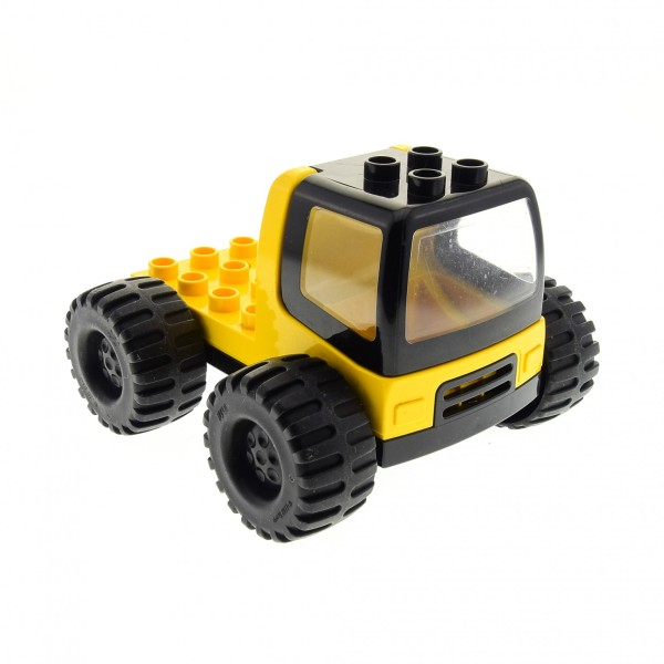 1 x Lego Duplo Bau Fahrzeug LKW Laster gelb schwarz mit Kabinen Fenster Windschutzscheibe Auto Zugmaschine Reifen groß dupconcar 31077