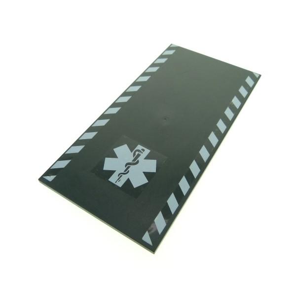 1 x Lego System Platte Fliese neu-dunkel grau 16 x 8 City Krankenhaus flach 8x16 Bauplatte Notarzt Rampe 7892 48288pb06