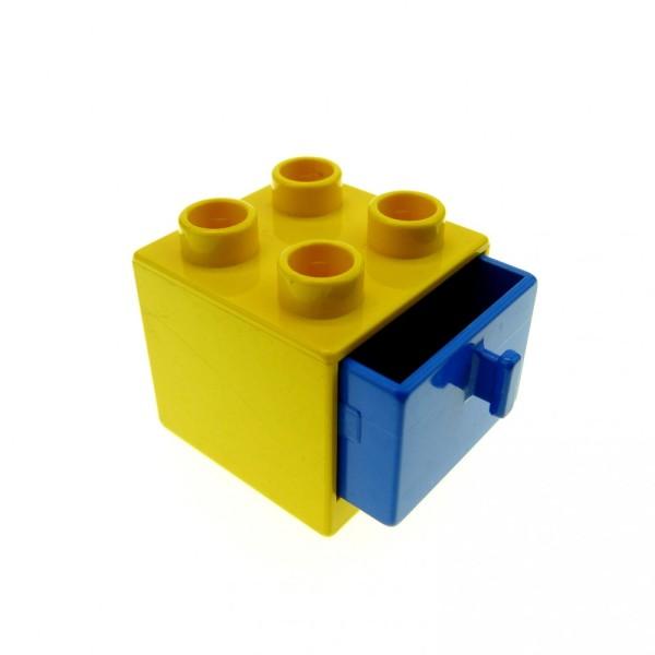 1 x Lego Duplo Möbel Schrank gelb blau 2x2x1.5 Kommode mit Schublade 2x2 Schlafzimmer Küche Bad Puppenhaus 4890 4891