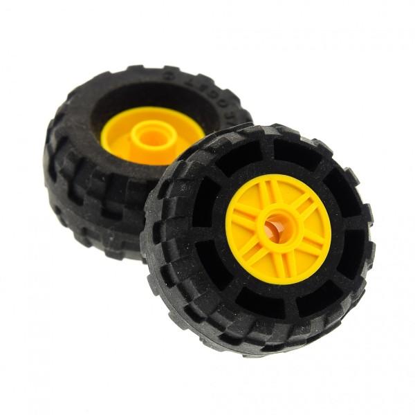 2 x Lego System Rad schwarz 18mm D. x 14mm 37 x 18 R Felge gelb Räder Reifen mit Pin Loch Technic 56891 55981c04