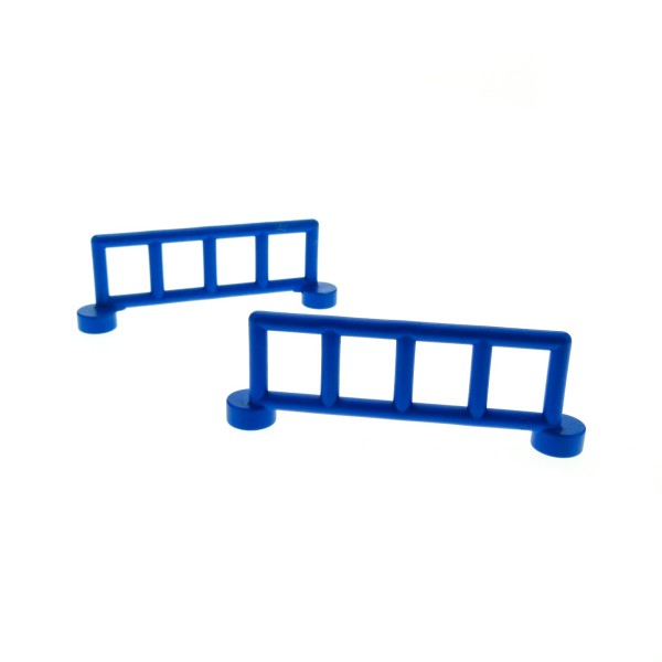 2 x Lego Duplo Zaun blau mit 5 Pfosten Zäune Gatter Gitter Geländer Absperrung Fence für Bauernhof Baustelle Zoo 2214