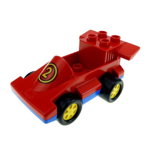 1x Lego Duplo Fahrzeug Rennwagen rot blau Renn Auto Nr.2 2607 duploracer02