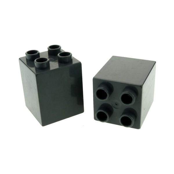 2 x Lego Duplo Bau Stein neu-dunkel grau 2 x 2 x 2 uni für Burg Mauer Castle Flughafen Säule Set 7840 4785 4776 4864 31110
