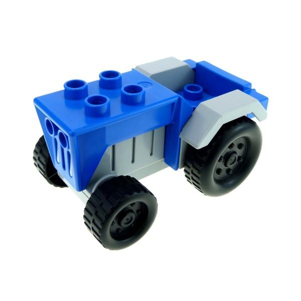 1 x Lego Duplo Fahrzeug Traktor blau neu-hell grau (Radmuttern) Auto Bauernhof Tier Hof Set 4669 klein tractor
