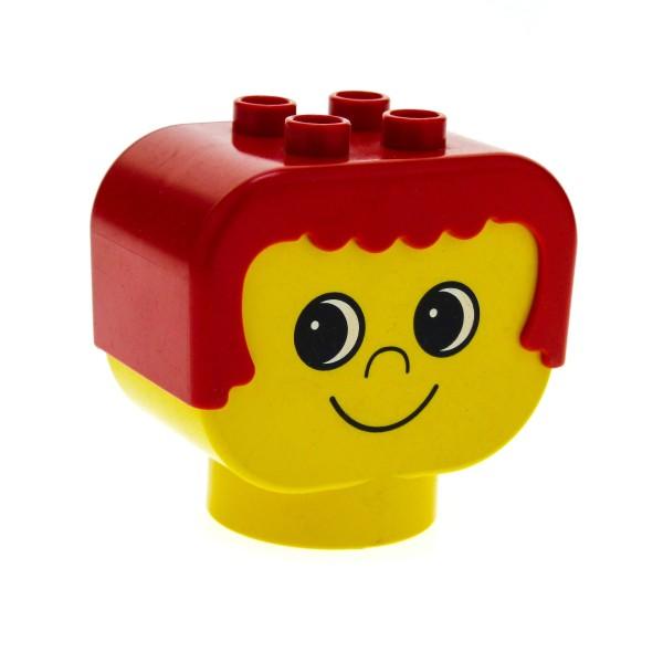 1 x Lego Duplo Primo Figur Kopf rot gelb Kind rote Haare Motiv Stein Augen schauen nach rechts Baby dup007
