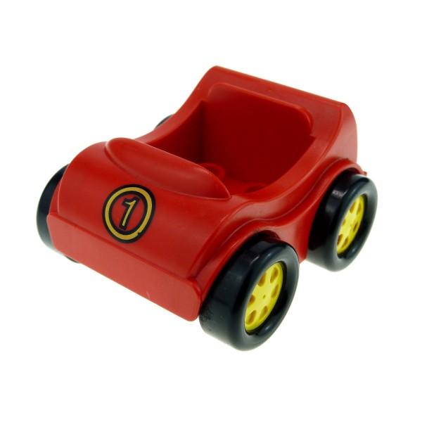 1 x Lego Duplo Fahrzeug Auto rot gelb mit Nr. 1 Go-Kart  PKW Set 2937 31363pb04