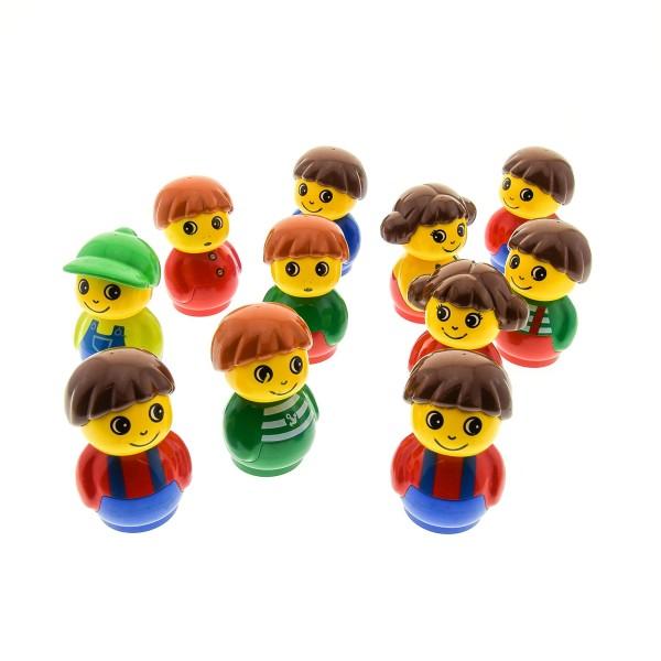 11 x Lego Duplo Primo Figuren B-Ware Set abgenutzt Junge Mädchen rot blau lime hell grün gelb 1x1 rund Baustein Baby