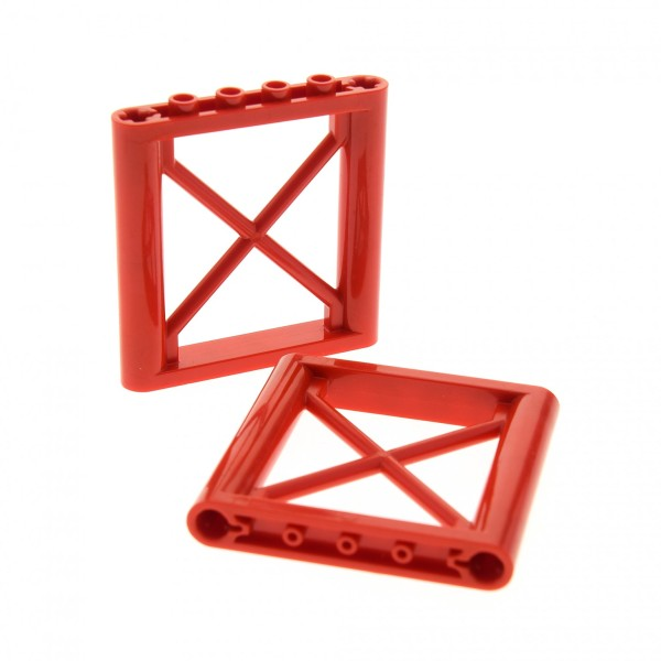2 x Lego System Stütze rot 1x6x5 Kran Pfeiler Gitter Element Ständer 4540606 64448