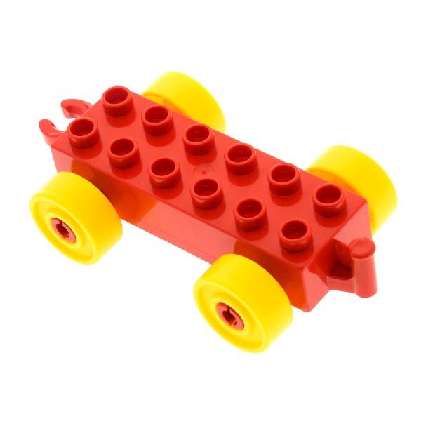 1 x Lego Duplo Anhänger 2x6 rot Reifen Rad gelb Auto Schiebe Zug Eisenbahn Kupplung offen und mit Führung Steg Set 9090 9081 9082 9083 4100750 2312c01