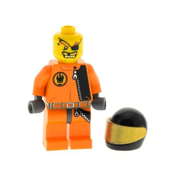 1 x Lego System Figur Mann Agents Gold Tooth Gold Zahn Torso orange Augen Klappe Motorrad Helm 8635 973pb0486c01 agt012