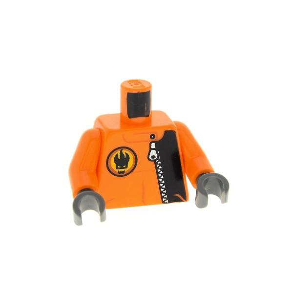 1 x Lego System Figur Torso Oberkörper Agents Break Jaw Torso orange bedruckt Reißverschluß und Villain Logo Arme orange Hände neu-dunkel grau für agt003 Set 8635 973pb0486c01