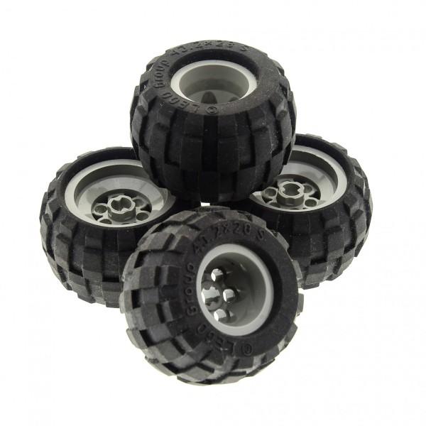 4 x Lego Technic Rad schwarz 43.2x28 S Räder Felge alt-hell grau Ballon Reifen komplett Auto LKW 6579 6580 657926 4183682 6580c01