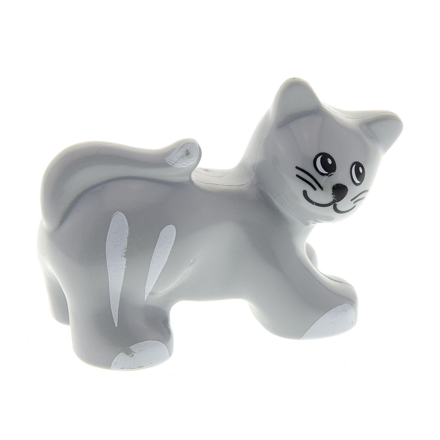 1x Lego Duplo Tier Katze neu-hell grau weiß Kater Bauernhof Set 9225 31102pb01