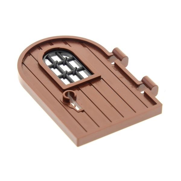 1 x Lego System Tür Blatt rot braun 1x4x6 Oberseite rund verstärkter Rand Gitter verdreht 1x2x2 2/3 Fenster schwarz Schlüssel Loch 4105221 30045 4561915 64390