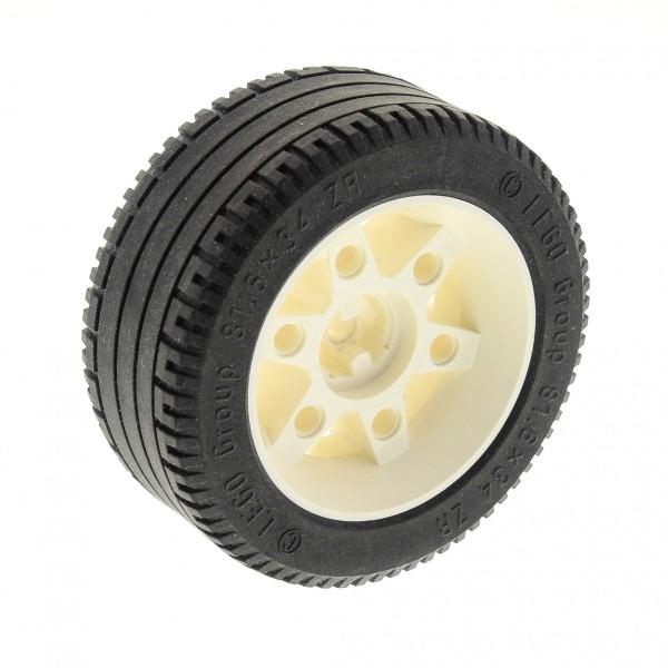 1 x Lego Technic Rad Ballon Reifen schwarz 81.6x34 ZR  Felge weiss Technik Set Super Car 8880 5533 8857 2997 2998c01